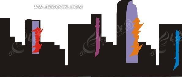 手绘城市高楼上彩色涂鸦