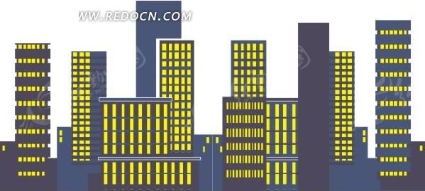 高楼大厦卡通画_灯火辉煌 高楼大厦 建筑物 卡通画 插画 手绘 矢量素材 城市风光 城市