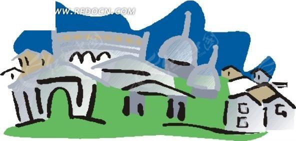 手绘卡通小镇房屋