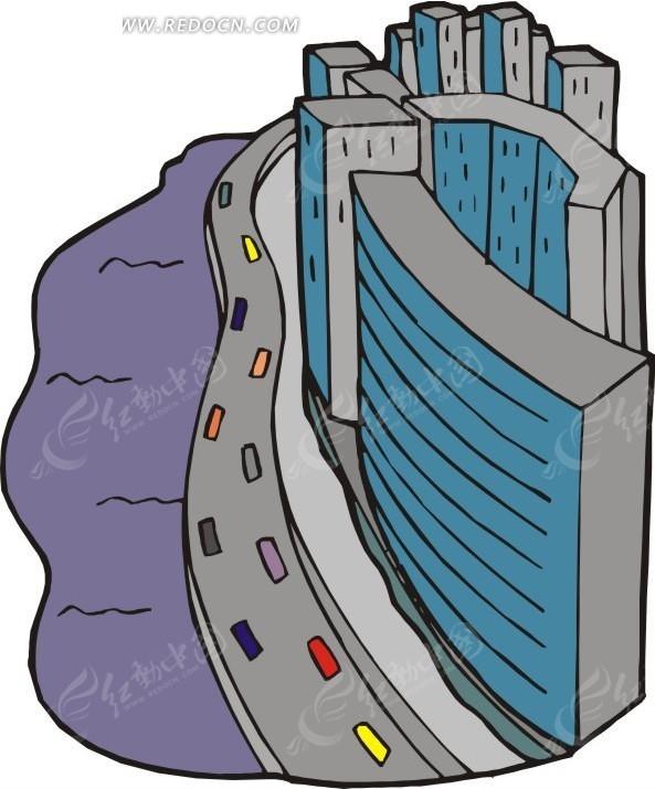 手绘河边的高楼和公路
