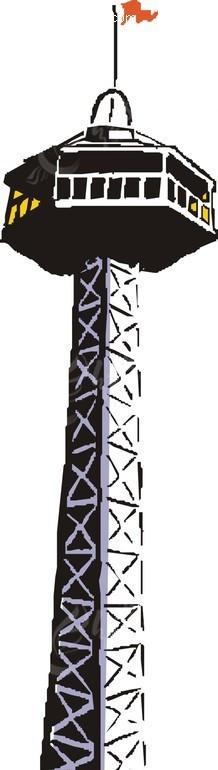 手绘钢铁观光塔