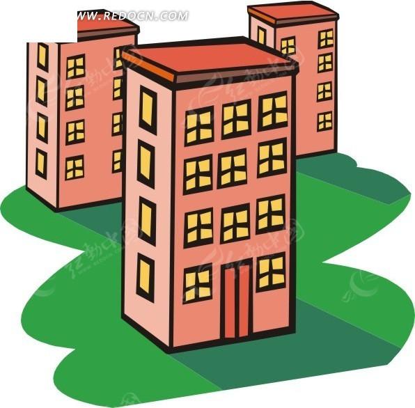 手绘粉色建筑物图片