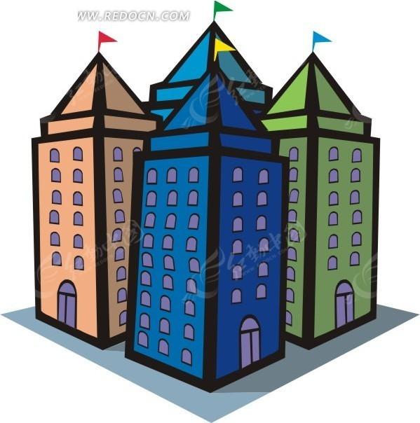 手绘彩色的房屋