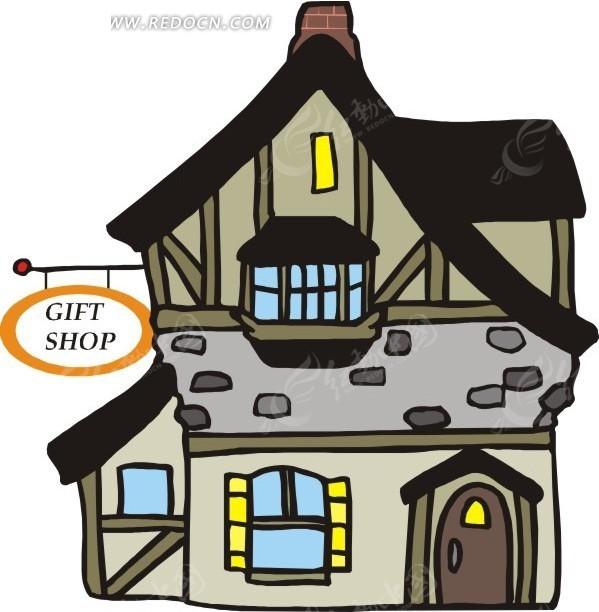 灰色礼品店 店铺 卡通画 插画 手绘 矢量素材 建筑设计 建筑图片