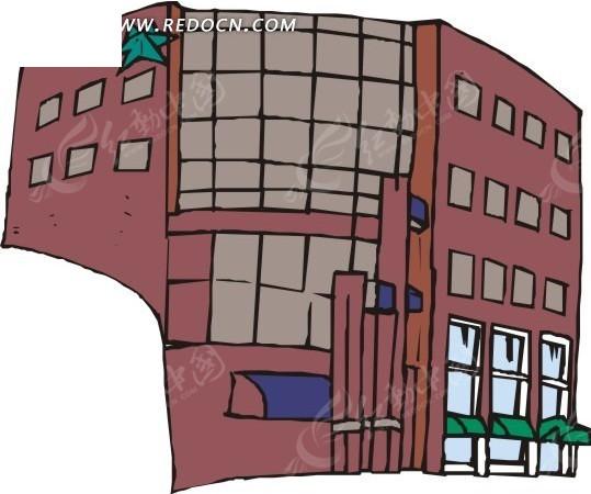 手绘高大的褐色建筑物