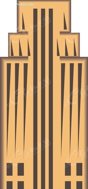 手绘黄色大厦图片