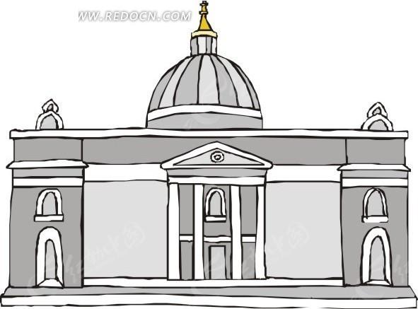 线描欧式建筑 欧式建筑 建筑 eps素材 矢量 矢量素材 插画 卡通 建筑