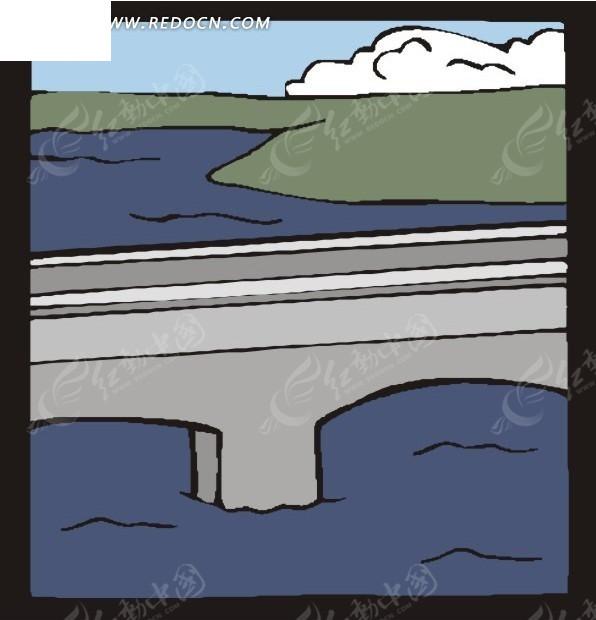 手绘海岸桥梁矢量图_建筑景观
