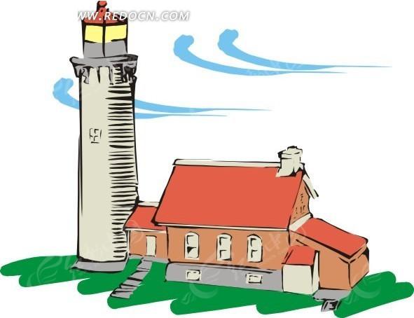 手绘风中的灯塔和房屋