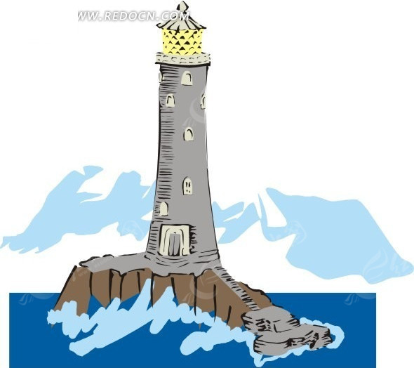 手绘灰色的灯塔