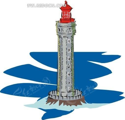 手绘红色顶部的灯塔