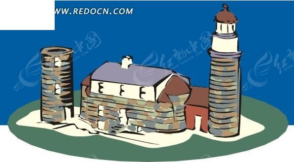 手绘灯塔和房屋