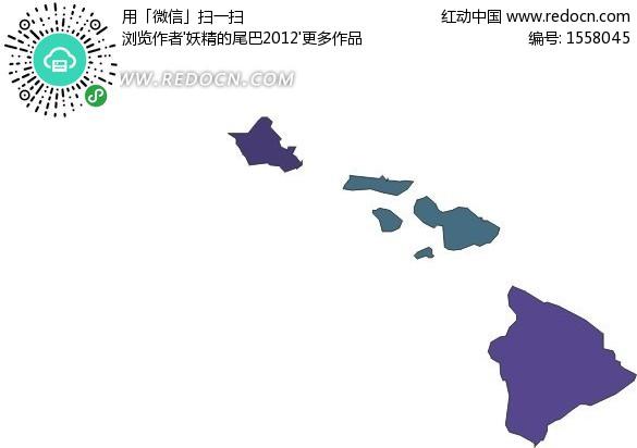 紫色夏威夷矢量地图矢量图