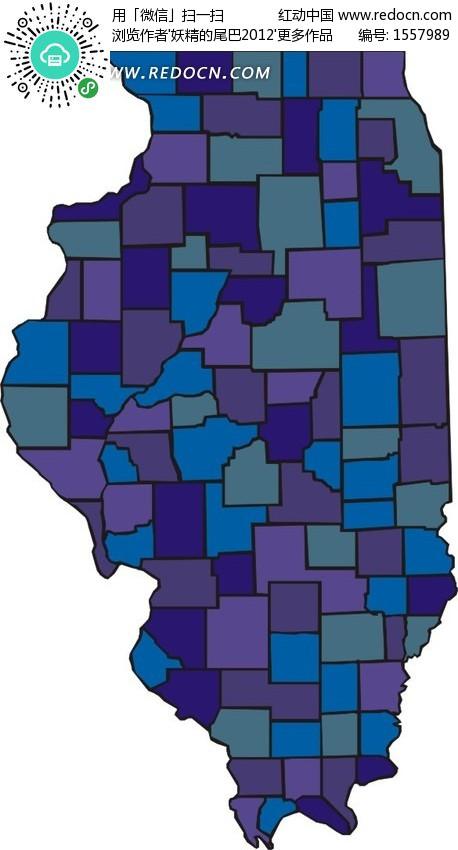 冷色调地图 伊利诺斯州 手绘地图 版图 矢量素材  生活百科