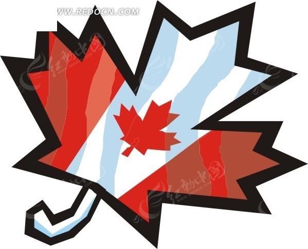 手绘加拿大国旗的枫叶矢量图