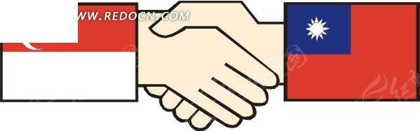新加坡和缅甸国旗握手图矢量图