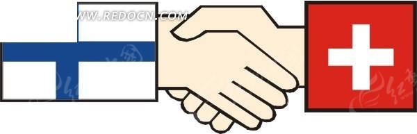 芬兰国旗 瑞士国旗 握手图 卡通画 手绘 矢量素材  生活百科