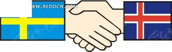 瑞典和冰岛国旗握手图