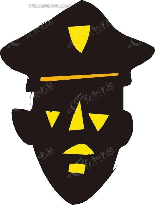 手绘一个警察头像图案eps素材免费下载_红动网
