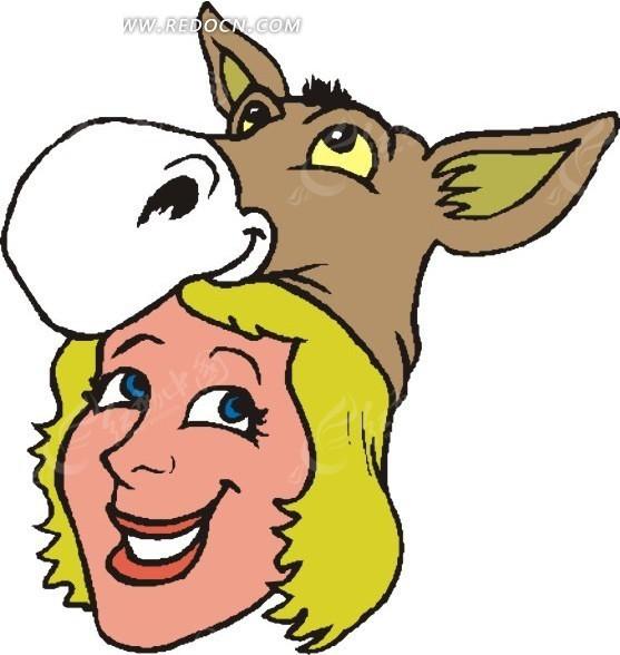 素材下载 矢量素材 矢量人物 卡通形象 > 手绘带着驴帽子的女人