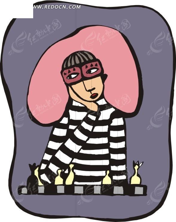象棋棋手 eps素材 矢量 矢量素材 插画 卡通  生活百科