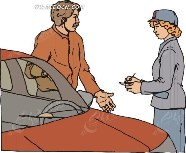 开罚单  女交警  手绘  插画  卡通画   漫画素材  生活百科 矢量素材