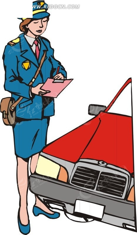 查车牌的女警察EPS素材免费下载 编号1562287 红动网