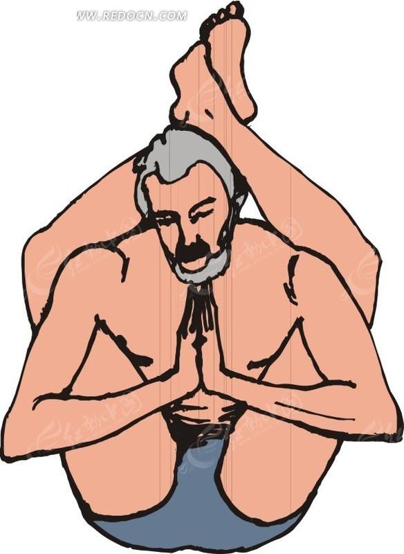 手绘双脚放在脑后双手合十的男人图片
