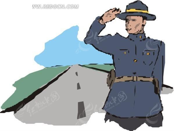 解放军敬礼手绘图片