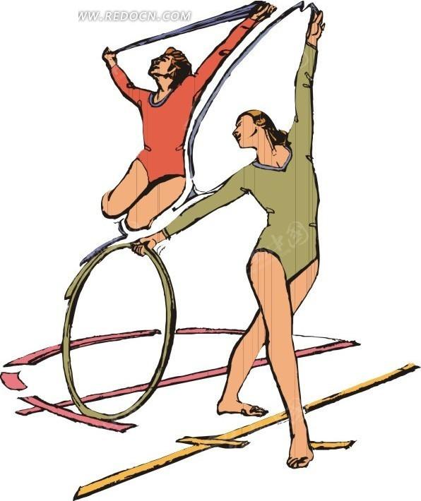 操女人下面的哪个位置_两个正在跳健美操的女人