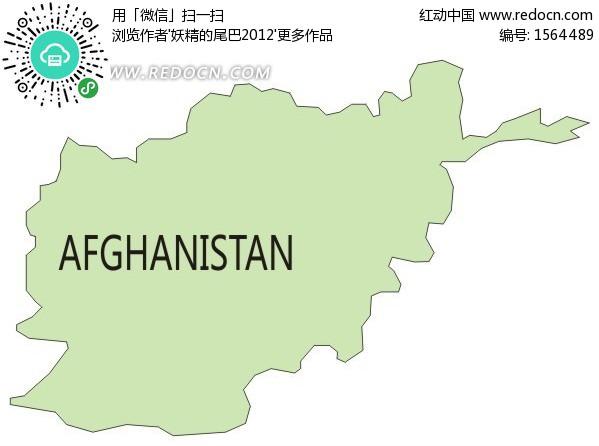 手绘阿富汗绿色地图矢量图
