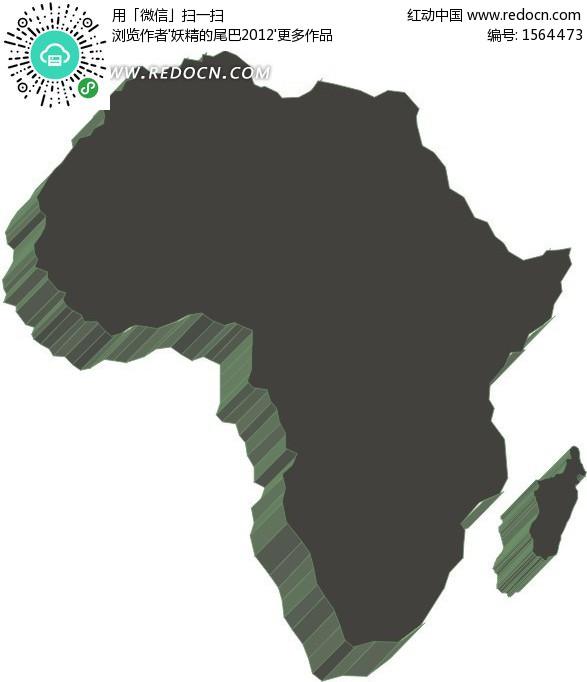 手绘墨绿色非洲地图板块