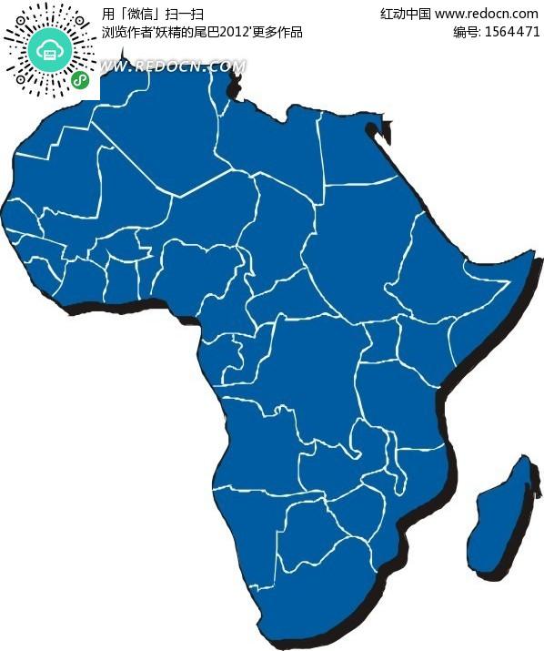 手绘蓝色非洲国家地图矢量图
