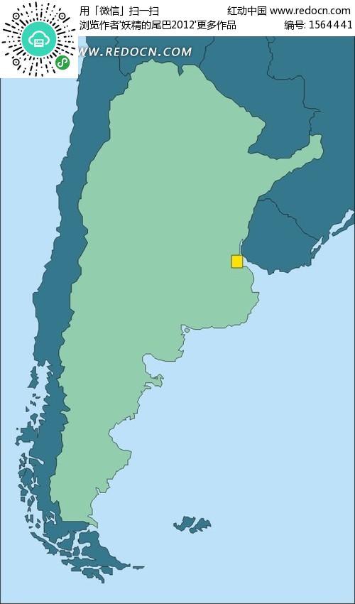 绿色的阿根廷地图矢量图
