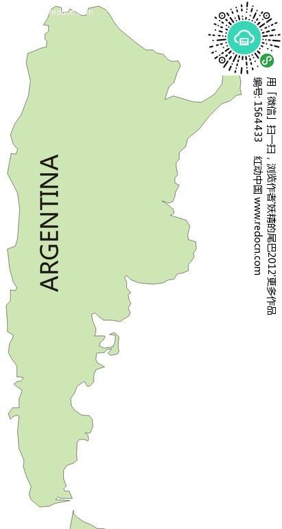 手绘阿根廷绿色地图
