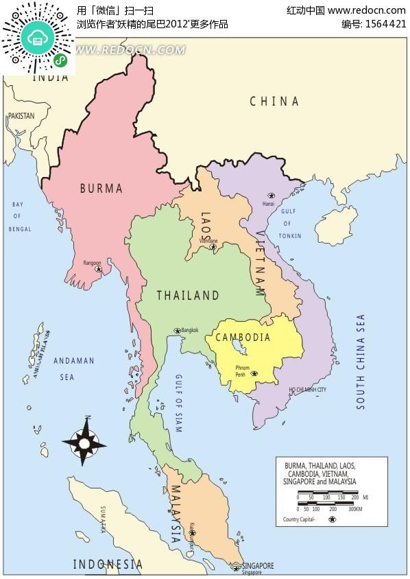 东南亚地图-东南半岛国家分布图