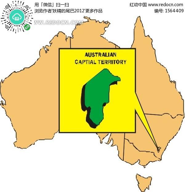 手绘澳大利亚地图上的澳大利亚首都地区矢量图