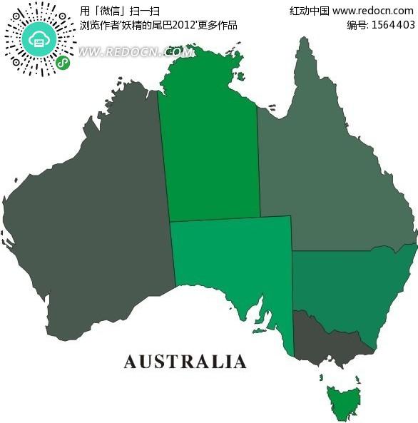 手绘深色调澳大利亚行政划分图
