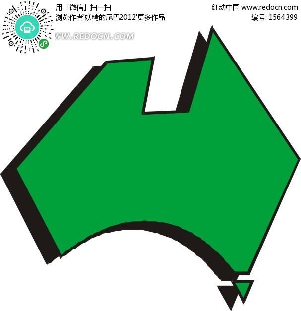 手绘绿色简易澳大利亚地图