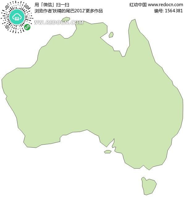 手绘澳大利亚地图轮廓