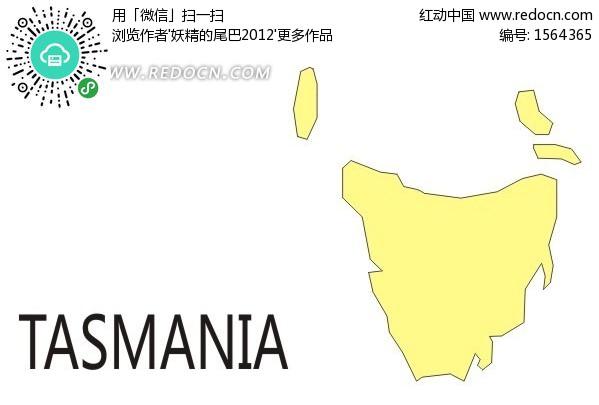 手绘塔斯马尼亚州地图
