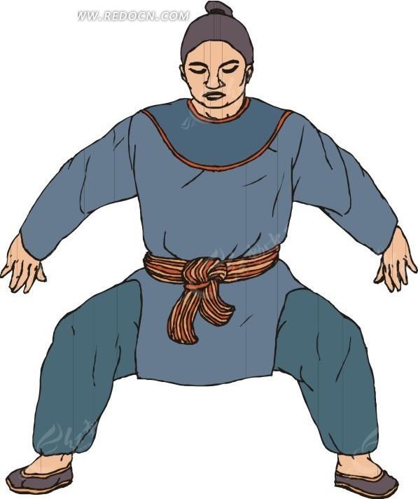 > 矢量素材 > 生活百科 > 体育运动 > 手绘穿蓝色衣服练武的古代男子