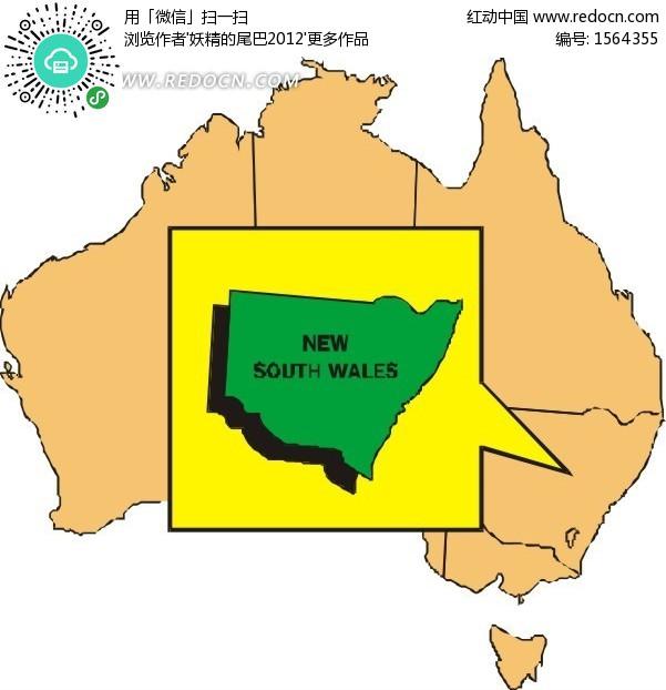 手绘澳大利亚地图上的新南威尔士州