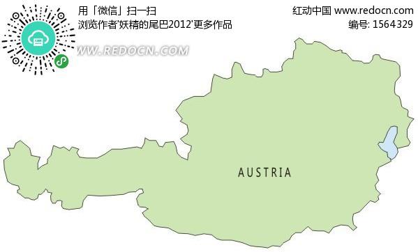 手绘奥地利绿色地图矢量图