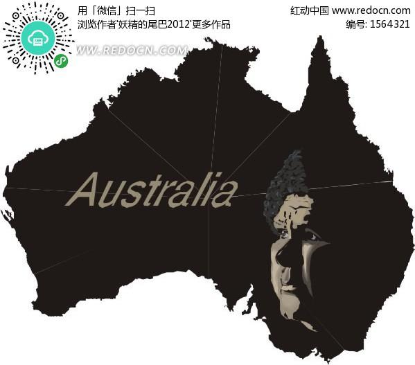 手绘黑色画着人脸的澳大利亚地图eps素材免费下载()