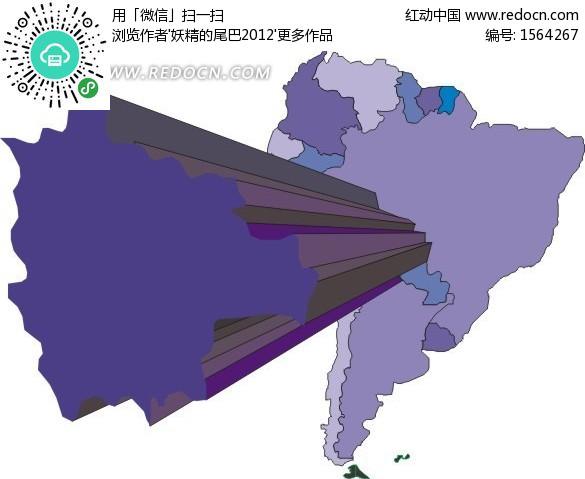 矢量 手绘五彩的南美洲地图