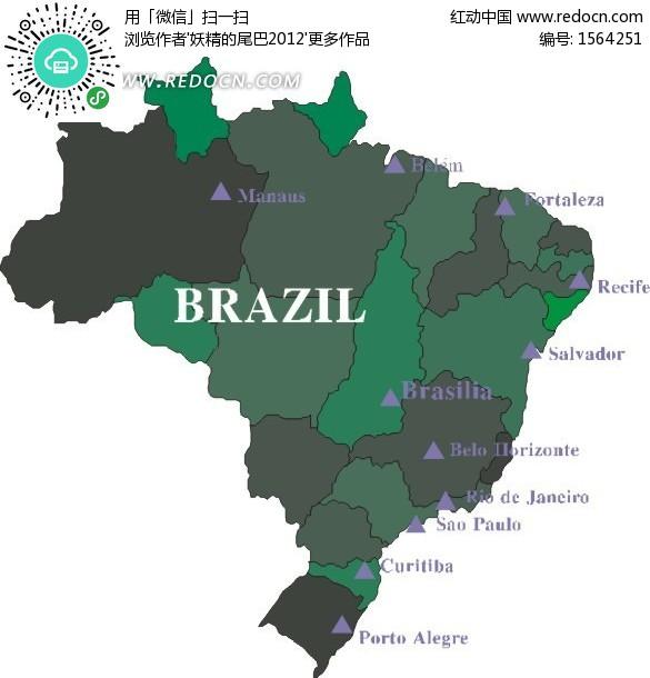 手绘绿色调巴西地图矢量图