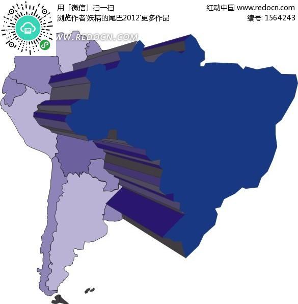 手绘南美洲上的巴西地图板块