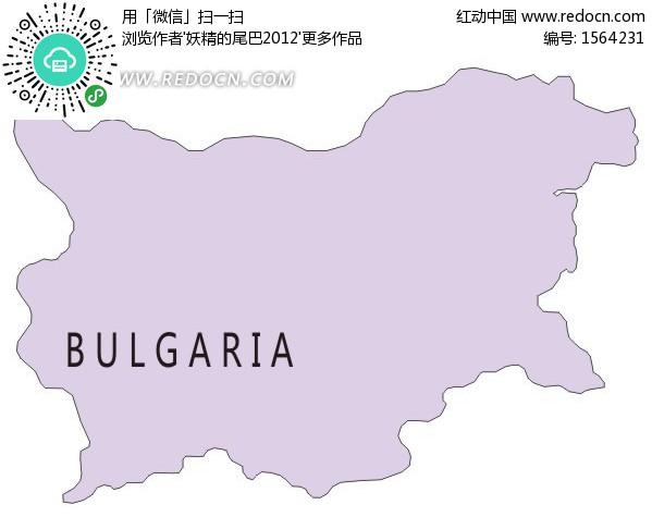 手绘保加利亚淡紫色地图