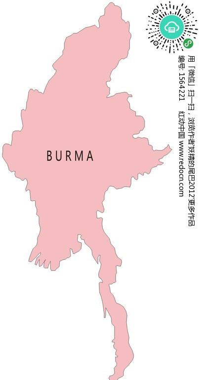 手绘缅甸粉色地图